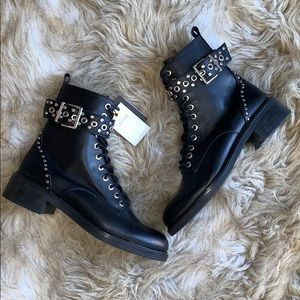 ZARA GENUINE LEATHER STUDDED BIKER ANKLE BOOTS NWT